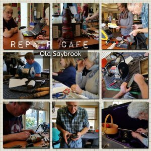 photo collage of volunteers making repairs