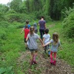 children on trail