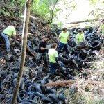 volunteers removing pile of tires