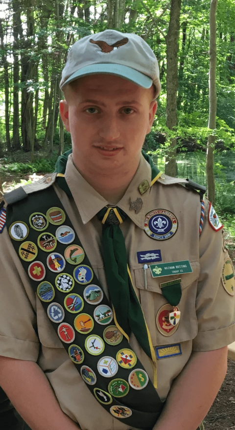 Nathan Botting in Boy Scout uniform
